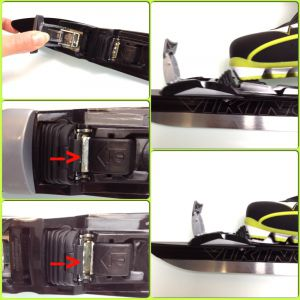 Sluiten: Druk de voet goed tegen het voorste blok aan en geef druk naar onder